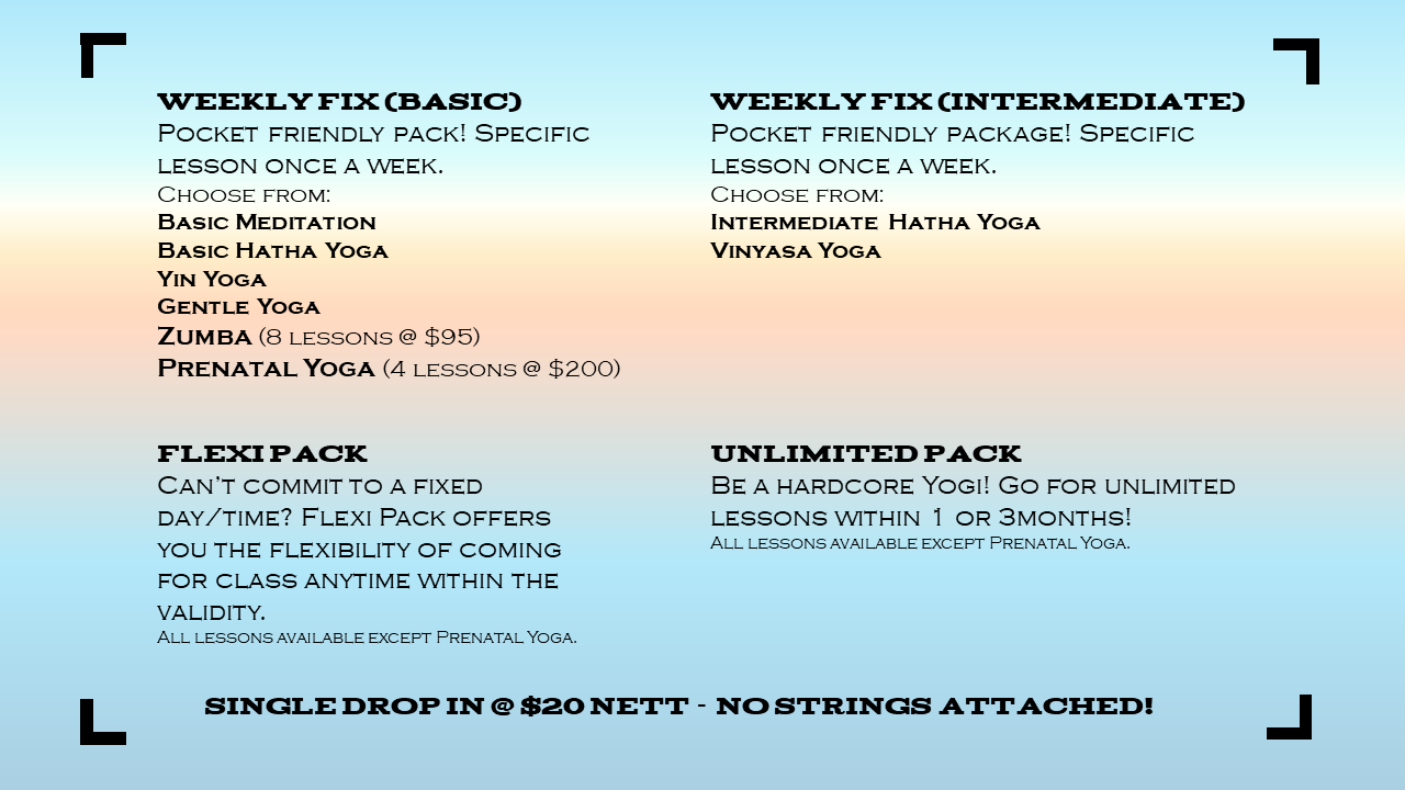 class schedule - living yoga singapore 生活瑜伽